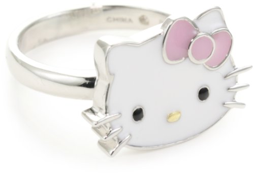 Hello Kitty Pink Enamel Bow and Sterling Silver Ring, Size 7