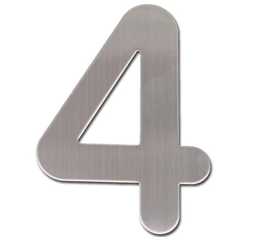 House Door Number (4) 20cm Stainless Steel brushed sign Model ELECSA 0179