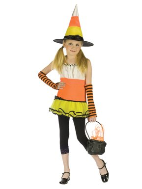 Candy Corn Witch Girls Kids Halloween Costume