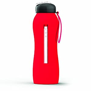 Asobu The Beat Silicone Hydra Bottle with Sport Lid, Red