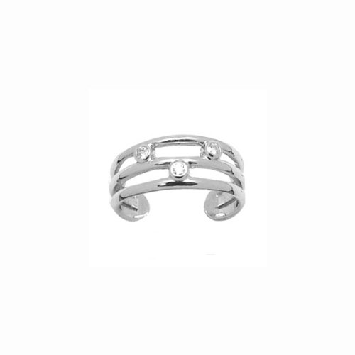 Sterling Silver 3line Cubic Zirconia Adjustable Toe Ring with FREE SHIP+GIFTBOX