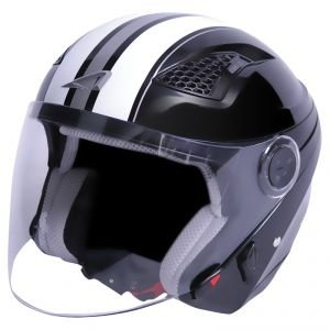 Astone Helmets DJ10GEX-SBWXL Casque Jet DJ10 Stripes Noir Taille XL
