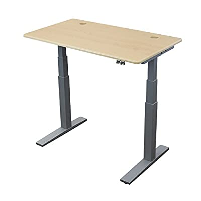 ThermoDesk UPSILON Electric Standing Desk- Ergonomic, Compact, Quiet, Lifts 360 lbs. Sit Less & Be Healthy! Workstation fits in home, office, or cube - Silver Base ( Top in 6 colors, 3 sizes )