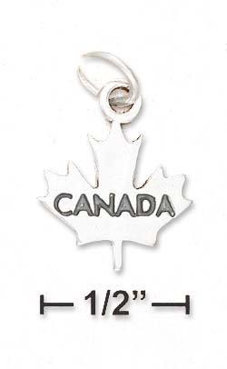 Sterling Silver Canada Maple Leaf Charm - JewelryWeb