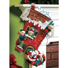Bucilla 18-Inch Christmas Stocking Felt Applique Kit, Holiday Decorating