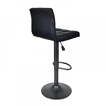 Black 2 PU Leather Modern Adjustable Swivel Barstools Hydraulic Chair Bar Stools