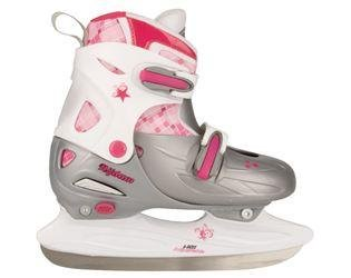 De Li Eishockey Schlittschuhe Kinder größenverstellbar (30 - 33||silber weiß rosa)