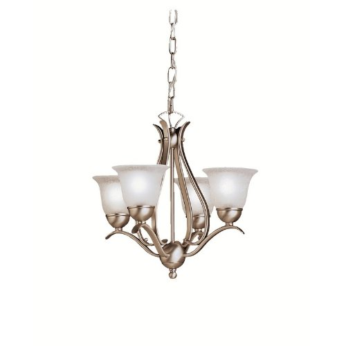 2019Ni Dover 4Lt Mini-Chandelier, Brushed Nickel Finish With Etched Seedy Glass