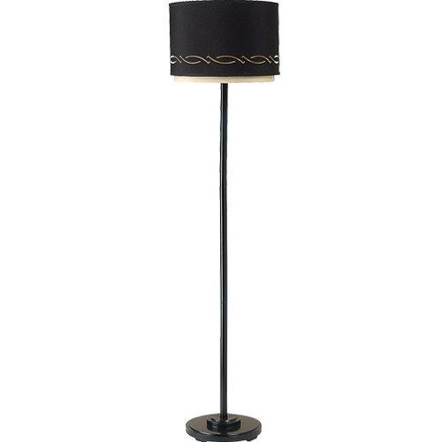 Royce Lighting Highland Park Collection Floor Lamp, Gloss Black Finish with Black and Cream Hardback Shade