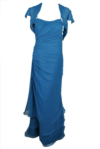 Vm Collection Womens Marine Blue Beaded Chiffon Full Length Dress 12