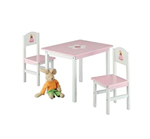 Zeller 13442 Princess - Juego de muebles infantiles de tablero DM (3 piezas; mesa: 60 x 48 x 45 cm, sillas: 28 x 26 x 54 cm) marca Zeller - Bebe Hogar