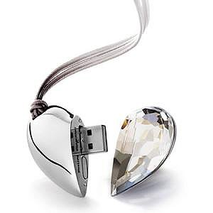 usb key 8 GB fun flash memory stick - heart valentine day white/silver color(Import from Hong Kong) from funkymemories