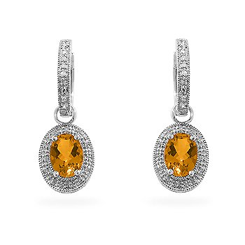 14k White Gold Citrine 1/6ct Diamond Dangle Earrings with 44 Diamonds and 2 Gemstones.