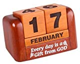 Christian desktop gift solid wooden calendar - Every day is a gift from God 10cm wide