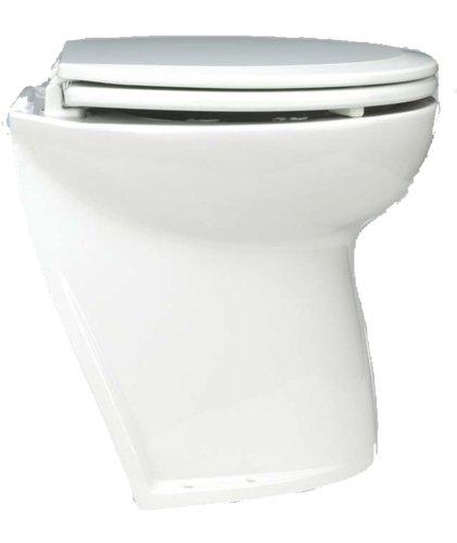Jabsco 58020-1012 Marine Marine Deluxe Flush Slant Back Electric Toilet with Solenoid Valve (12-Volt, 25-Amp)