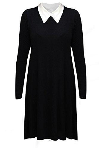 Janisramone Da Donna A Maniche Lunghe Peter Pan Tinta Unita Elasticizzato Loose maglia Swing Plus Size abito Black M/L (44-46)