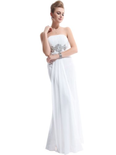 Ever Pretty Padded Empire Chiffon Ruching Gorgeous Bridesmaid Dress 09652, Size 12, White, HE09652WH14