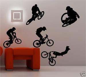 Online design 5 x bmx bikers riders wall art sticker kids for Bmx bedroom ideas