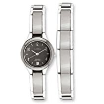 IceCarats Designer Jewelry Ladies Chisel Ceramic & Stainless Steel Black Dial Watch & Bracelet In Ceramic And 7.5 Inch