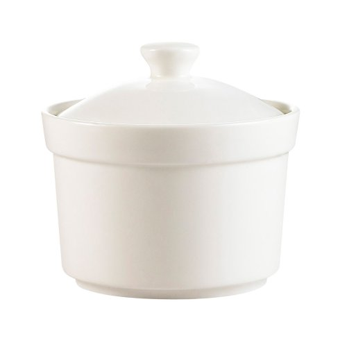 CAC China CAS-B8 7.5-Ounce Porcelain Round Soup Bowl with Lid, 3-1/2 by 2-3/8-Inch, Super White, Box of 24