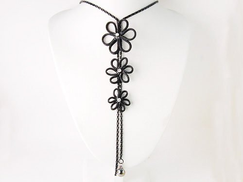 Black Chain Crystal Rhinestone Flower Trio Tassel Trend Fashion Jewelry Necklace