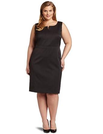 Anne Klein Women's Plus-Size Split Neck Shift Dress, Charcoal, 24W at