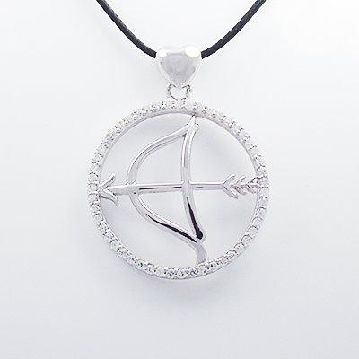 Stylish 925 Sterling Silver Sagittarius Pendant with Cubic Zircon Inlay