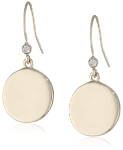 "Kenneth Cole New York ""Shiny Earrings"" Gold Circle Drop Earrings"