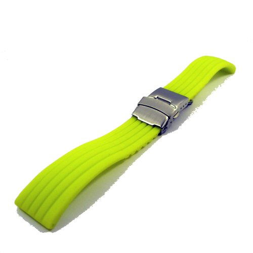 ZeitPunkt silicone Watchband with stainless steel deployment buckle, yellow, 22mm