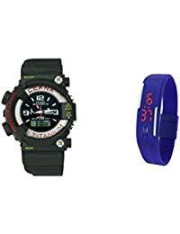 Grandson Black And Blue Casual Digital And Analog Watch For Boys,Girls,Men And Women