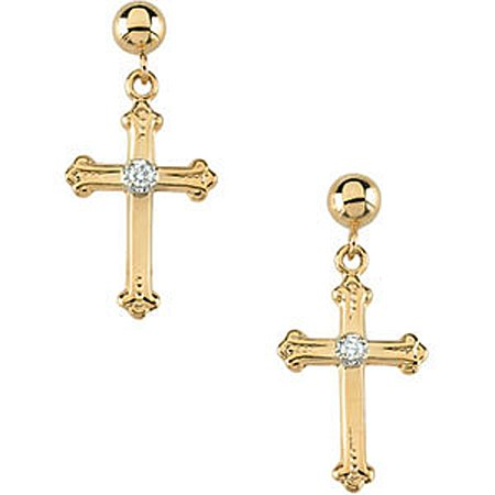 14K Yellow Gold Diamond Cross Earrings - 15 x 10.5 mm