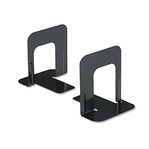 Innovera Universal Economy Bookends, Nonskid, 4 3/4 x 5 1/4 x 5 Inches, Heavy Gauge Steel, Black (54055)