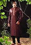 Maroon and Black Art Silk Readymade Kurta with Churidar