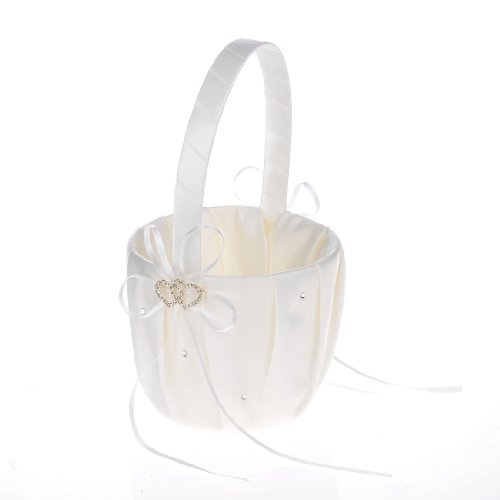 Remedios Ivory Satin Rhinestone 2 Hearts Wedding Flower Girl Basket