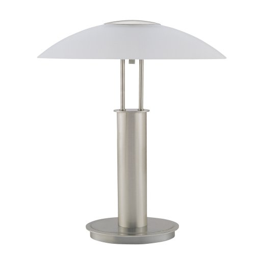 ORE International 6276 18-Inch Touch Table Lamp, Brushed Nickel with Glass Mushroom Lamp Shade at Sears.com