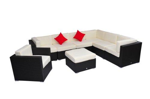 8 Pieces Outdoor Rattan Sofa Deluxe Wicker Sectional Patio Garden Furniture Lounge Chair