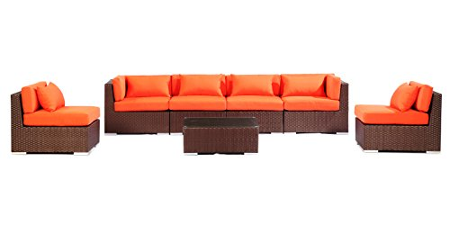 Patio Furniture Modern Outdoor Sofa Sectional Modify-ItTM Aloha Waikiki 7-pc Set, Espresso Wicker/Orange Cushions by Kardiel photo