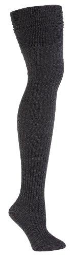 Sock It To Me Women'S Over The Knee Black Mixed Rib Socks