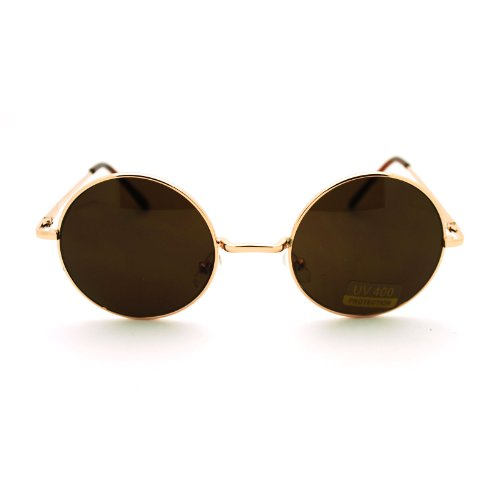 Gold Brown 70s Hippie John Lennon Circle Lens Imagine Groovy Wire Rim Sunglasses