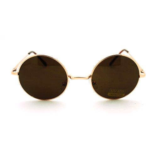 Gold Brown 70s Hippie John Lennon Circle Lens Imagine Groovy Wire Rim Sunglasses