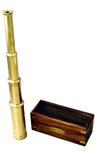 """15"""" Handheld Brass Telescope With Wood Box - Nautical Captain"""