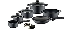 ELO Black Die-Cast Aluminum Kitchen Cookware Pots and Pans Set with Durable Non-Stick Coating and Oven Mitts, 9-Piece