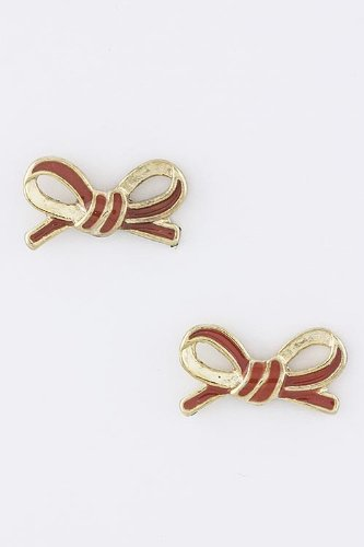 Baubles & Co Bow Tied Earrings (Red) front-222125