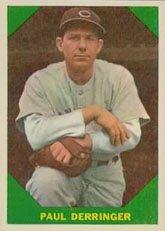1960 Fleer Baseball Greats (Baseball) Card# 43 Paul Deringer Of The Chicago Cubs Exmt Condition