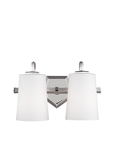 Feiss 2-Light Vanity, Satin Nickel/Polished Nickel