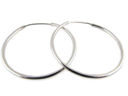 Amberta Paio di orecchini a cerchio in argento 925, diametro 30mm misura media
