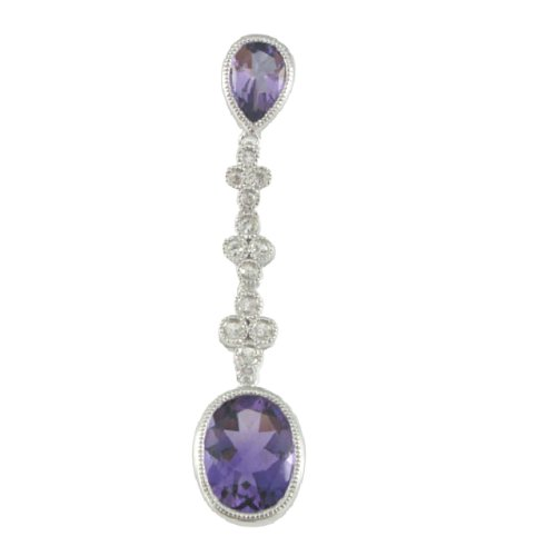 Sterling Silver Amethyst White Sapphire Pendant Necklace, 18