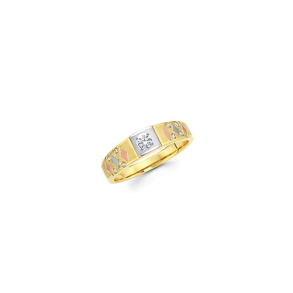 Size  12   14k Yellow Gold Tri 3 Color Gold Diamond Wedding Ring Band .13 ct (G H Color, I1 Clarity)