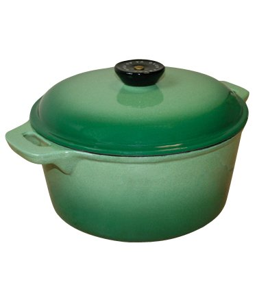 Le Cuistot Classic Enameled Cast-Iron 4.25 Quart Round Dutch Oven - 2 Tone Green