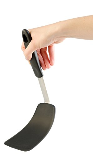 StarPack Ultra Flexible Large Silicone Turner Spatula - Bonus 101 Cooking Tips (Gray Black)